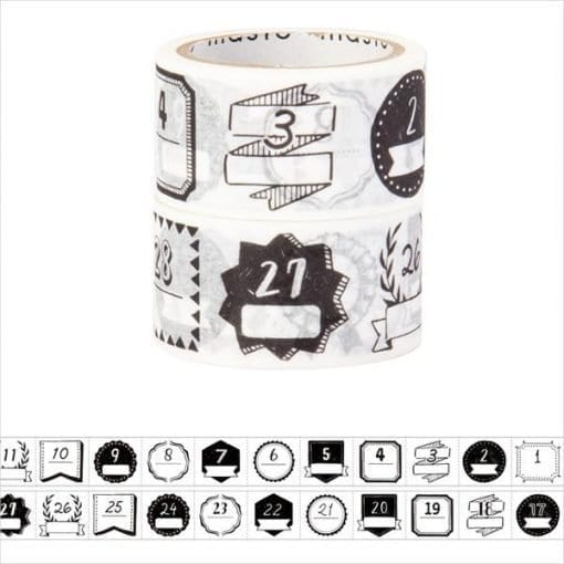 maste monochrome date washi tape