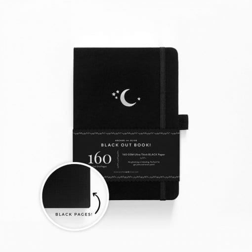 Archer and Olive Blackout Book A5 Silver Crescent