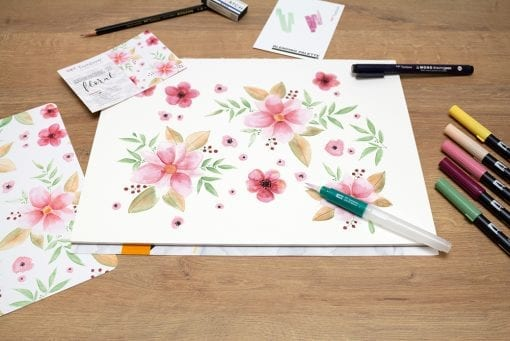 Tombow Watercoloring Set_in use