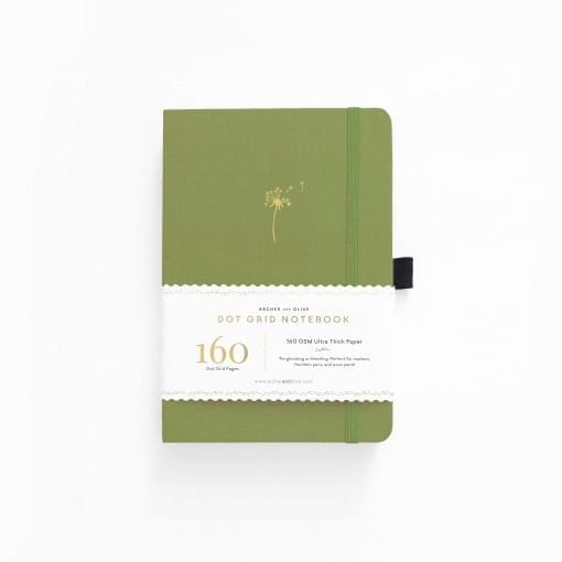 archer olive 29-day-dreams-dandelion a5 notebook