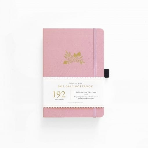 Arhcer&Olive Light Pink 192pages Dot Grid Notebook_ fabric cover
