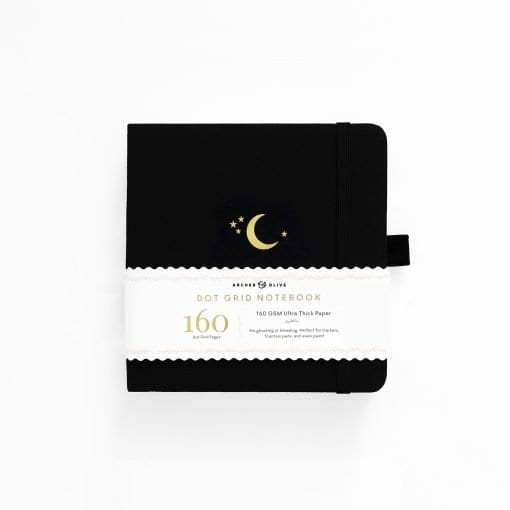 A5 Archer & Olive Crescent Moon 8x8 Square Dot Grid Notebook