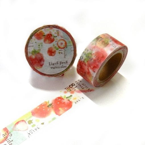 Round Top x Liang Feng Strawberry Mint Washi Tape