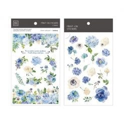 MU Print-On Stickers - Blue Flowers