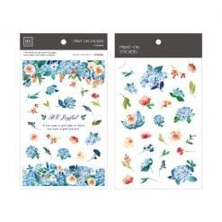 MU Print-On Stickers - Blue Hydrangeas