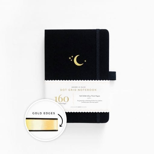 A5 Archer & Olive Crescent Moon Dot Grid Notebook with Gilded Edges