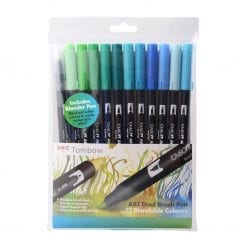 Tombow ABT Dual Brush Pens Ocean Colours - Set of 12