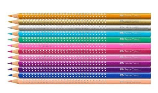 Faber-Castell Sparkle Coloured Pencils in pink tin