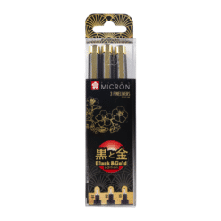 Sakura Pigma Black and Gold Limited Edition Set of 3