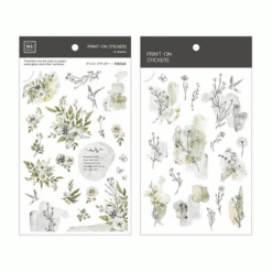 MU Print-On Stickers - Grey Green Flowers